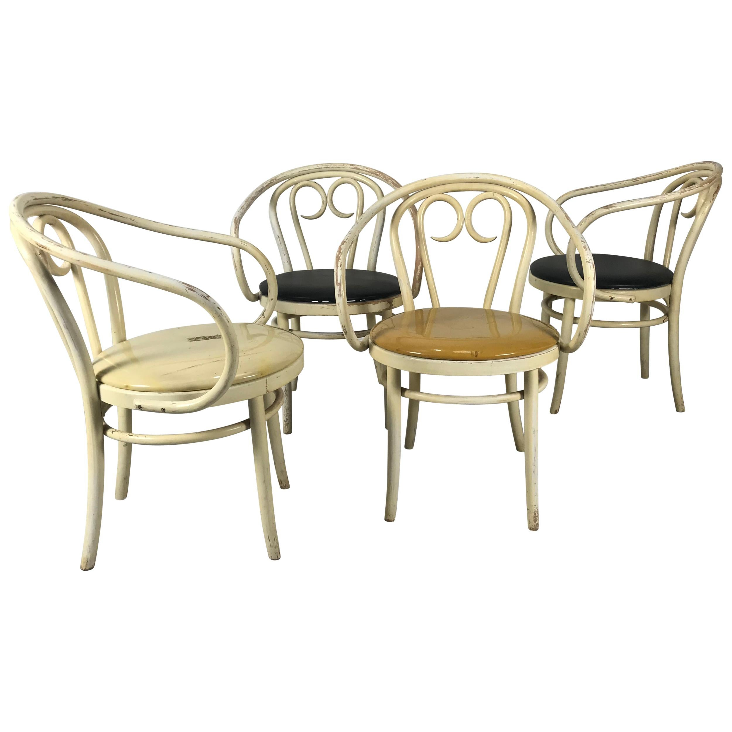 Most Unusual Set 4 of Modernist Bentwood Armchairs by Thonet