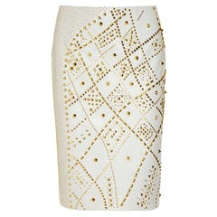 Most Wanted VERSACE STUDDED LEATHER PENCIL SKIRT Size 42