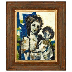 'Mother and Child' Abstract Mid-Century Modern Unsigned Oil on Canvas