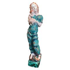 """Mother and Child,"" Brilliantly-Glazed Ceramic Sculpture by Wiener Werkstätte"