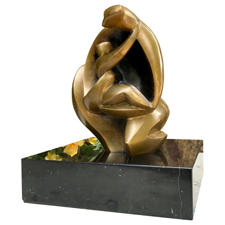 """""""Mother and Child"""" Bronze Sculpture by Isaac Kahn For Sale"""