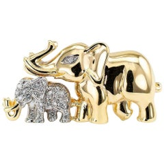 Mother and Child Elephant Diamond Gold Brooch