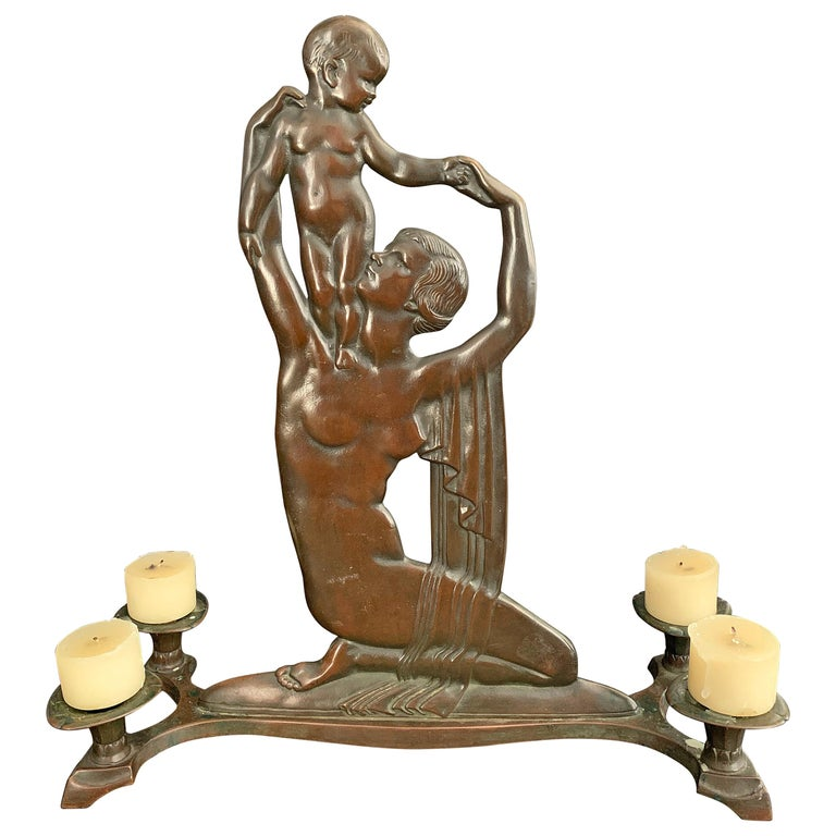 """""""Mother and Child,"""" Rare 1920s Bronze Sculptural Centerpiece and Candlestick For Sale"""
