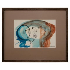 Mother and Child Watercolor Portrait by Walter Peregoy