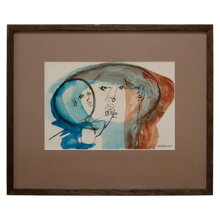 Mother and Child Watercolor Portrait by Walter Peregoy For Sale
