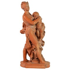 'Mother and Child' Wonderful Moving Terracotta Sculpture by Benoit Rougelet