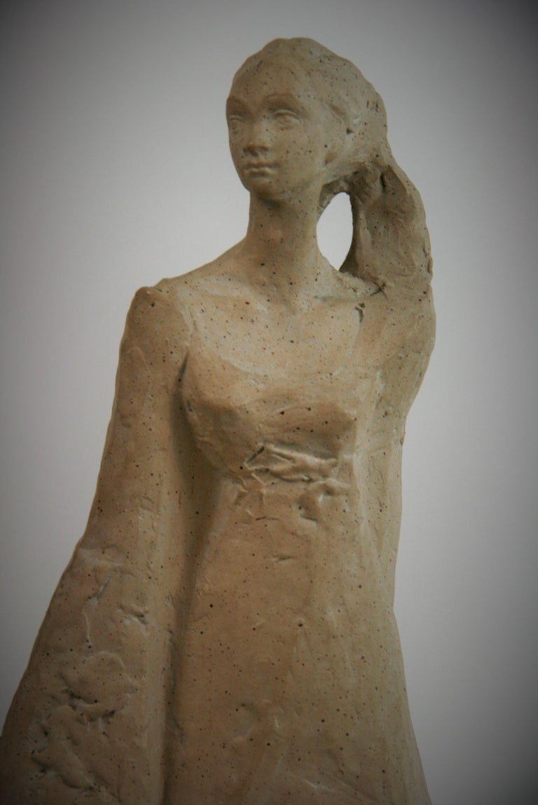Cast Stone Mother and Small Children  Sculpture on Wood Base by Austin Productions, 1978 For Sale