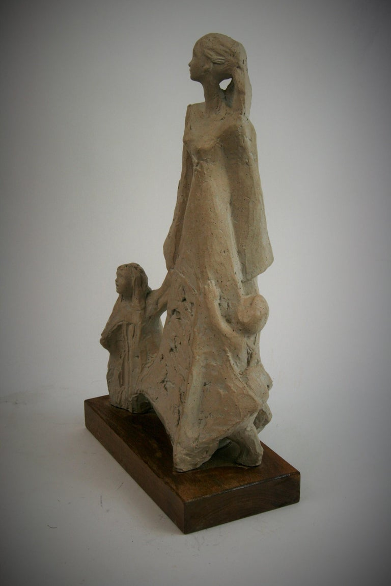 Mother and Small Children  Sculpture on Wood Base by Austin Productions, 1978 For Sale 1