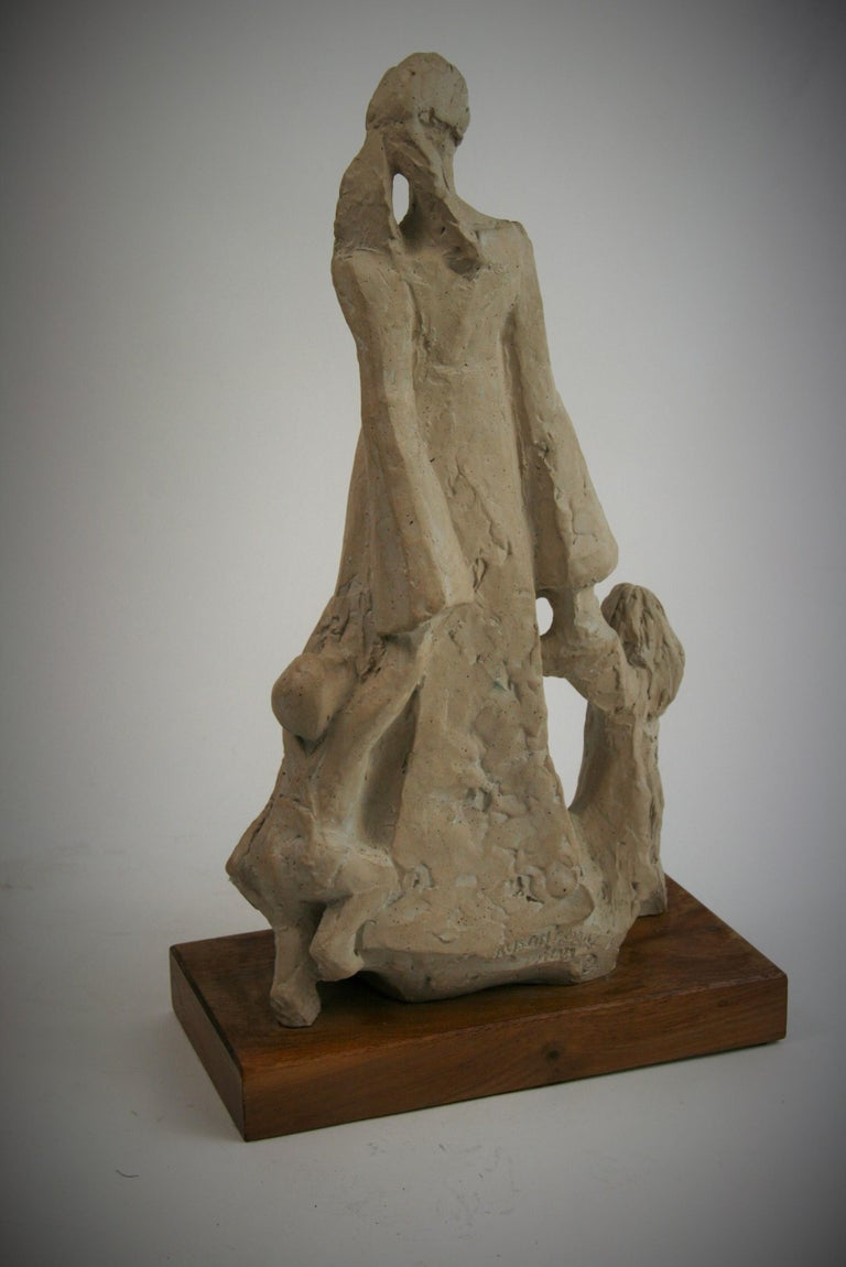Mother and Small Children  Sculpture on Wood Base by Austin Productions, 1978 For Sale 2