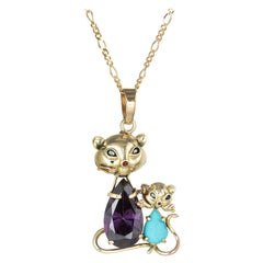 Mother & Baby Cat Pendant Necklace Vintage 14 Karat Gold Turquoise Jewelry