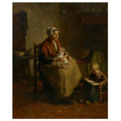 """Mother & Her Children"" Interior Painting by Bernard de Hoog, 'Dutch'"