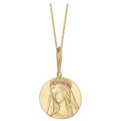 Mother Mary Radiance Necklace, 18 Karat Yellow Gold with Sapphire and Garnet