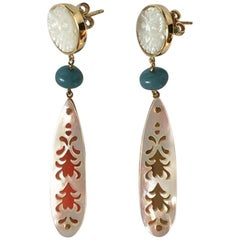 Mother of Pearl 18 Karat Gold Aquamarine Earrings