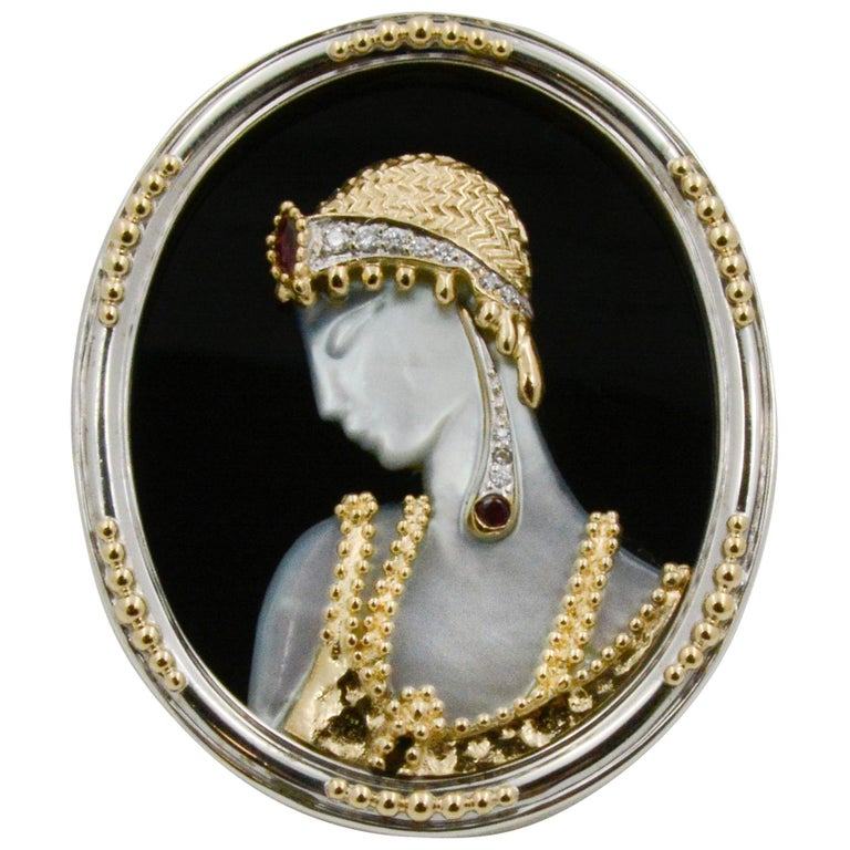Mother of Pearl and 14 Karat Yellow Gold Sterling Silver Erte Solome Pin For Sale