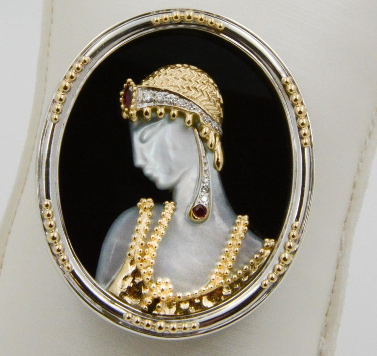 Mother of Pearl and 14 Karat Yellow Gold Sterling Silver Erte Solome Pin For Sale 2