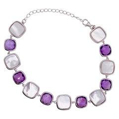 Mother of Pearl and Amethyst Gemstone Link Bracelet
