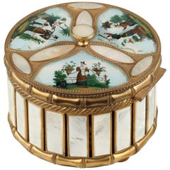 Mother of Pearl and Bronze Perfume Box with Scenes from the Far East