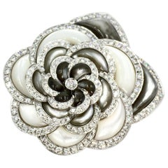 Mother-of-Pearl and Diamond 18 Karat White Gold Large Rose Brooch
