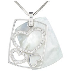 Mother of Pearl and Diamond Heart Pendant Set in 14 Karat White Gold with Chain