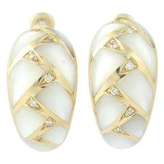 Mother of Pearl and Diamond Kabana Earrings, 14 Karat Gold Pierced J-Hoops