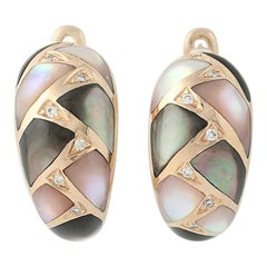 Mother of Pearl and Diamond Kabana Earrings, 14 Karat Rose Gold Pierced