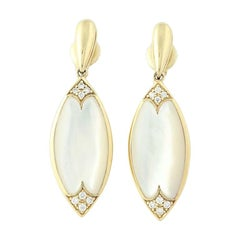 Mother of Pearl and Diamond Kabana Earrings, 14k Gold Round Brilliant .14 Carat