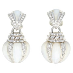 Mother of Pearl and Diamond Kabana Earrings, 18k Gold Round Brilliant .43 Carat