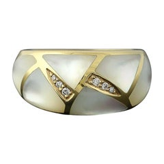 Mother of Pearl and Diamond Kabana Ring, 14 Karat Yellow Gold