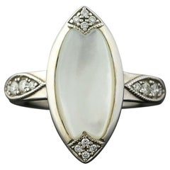 Mother of Pearl and Diamond Kabana Ring, 14 White Gold Round Brilliant .22 Carat