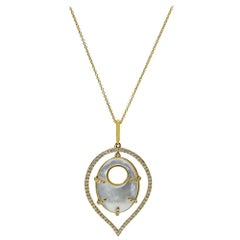 Mother of Pearl and Diamond Necklace, 18 Karat Yellow Gold