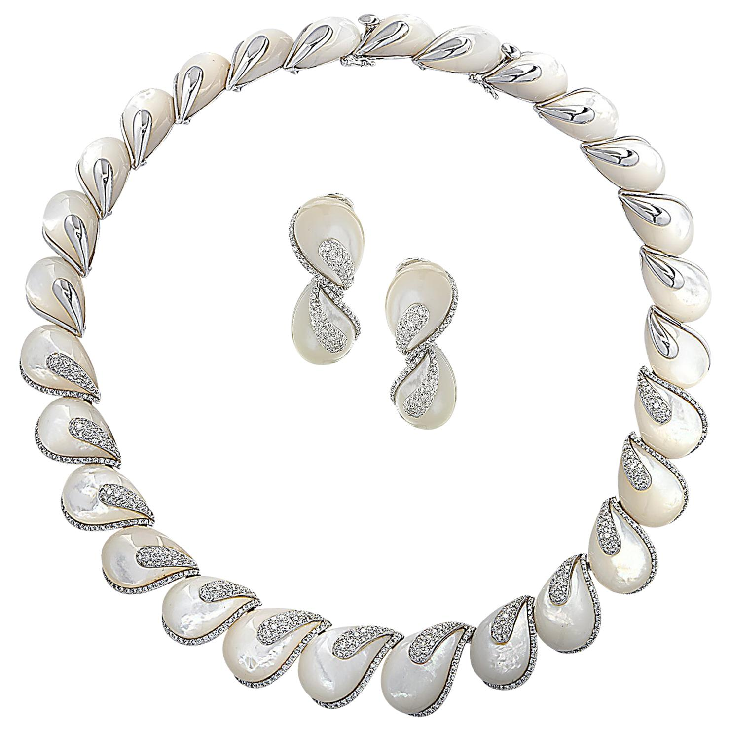 Mother of Pearl and Diamond Necklace and Earring Set