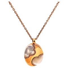 Mother of Pearl and Diamond Pendant Necklace 18 Karat Rose Gold