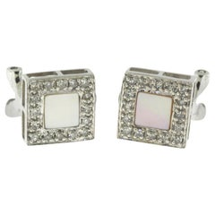 Mother of Pearl and Diamond White Gold Square Earrings