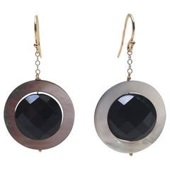 Marina J Mother-of-Pearl and Onyx Bead Earrings with 14 K Yellow Gold Hook