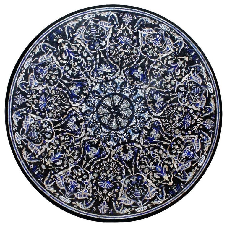 Mother-of-Pearl and Lapis Lazuli Pietre Dure Inlay Mosaic Tabletop