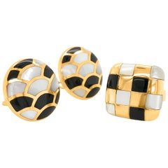 Mother of Pearl and Onyx Earrings and Ring