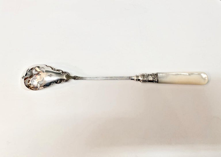 North American Mother of Pearl and Sterling Silver Olive Spoon For Sale