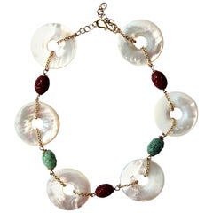 Mother of Pearl Carved Antiques Jade Carnelian 18 Karat Gold Necklace