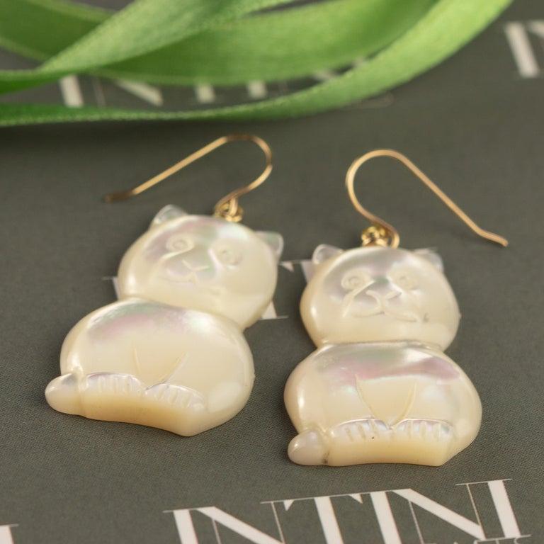 Art Nouveau Mother of Pearl Cat Feline Bear 18 Karat Gold Handmade Animal Drop Chic Earrings For Sale