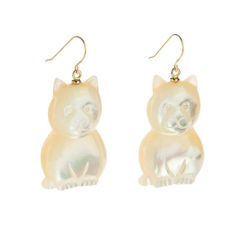 Mixed Cut Mother of Pearl Cat Feline Bear 18 Karat Gold Handmade Animal Drop Chic Earrings For Sale