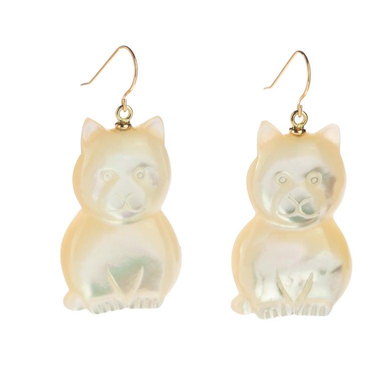 Women's or Men's Mother of Pearl Cat Feline Bear 18 Karat Gold Handmade Animal Drop Chic Earrings For Sale