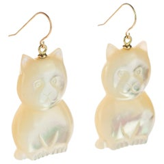 Mother of Pearl Cat Feline Bear 18 Karat Gold Handmade Animal Drop Chic Earrings