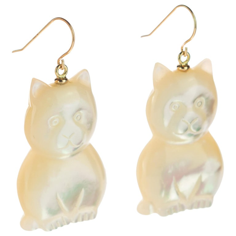 Mother of Pearl Cat Feline Bear 18 Karat Gold Handmade Animal Drop Chic Earrings For Sale