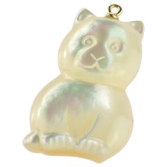 Mother of Pearl Cat Feline Bear 18 Karat Gold Handmade Animal Pendant Necklace