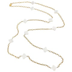 Mother of Pearl Clover Long Station Vermeil Necklace