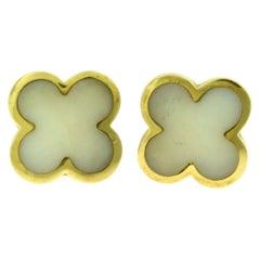 Mother of Pearl Clover Flower Motif Single Stud Earrings