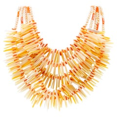 Mother of Pearl Coral Multi Strand Collar Chocker Round Stick Beads Necklace