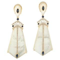Mother of Pearl Diamond 18 Karat Gold Earrings