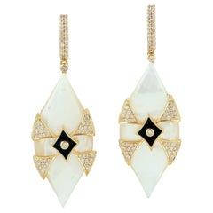 Pearl Diamond 18 Karat Gold Earrings