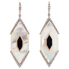 Pearl Diamond 18 Karat Gold Hexagon Earrings